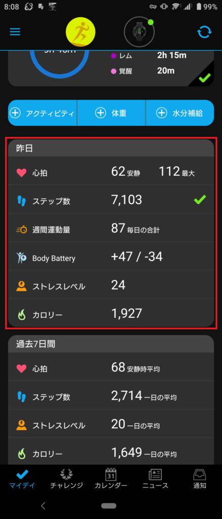 Garmin Connect サマリ